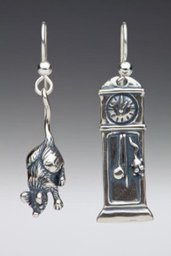 Mother Goose - Grandfather Clock and Mouse Earrings