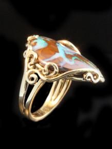 Ocean Reef Boulder Opal Ring - 14K Gold
