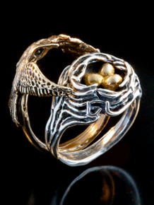 Bird and Bird Nest Ring with Golden Eggs