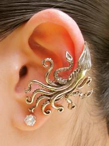 Kraken Squid Ear Cuff - Bronze