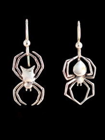Black Widow and Orb Spider Earrings - Silver