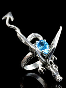 Dragon Sculpture Ring with Gemstone