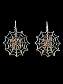 Silver Spider Web with Bronze Black Widow (Left) and Bronze Orb Spider (Right) Charms (Mix Matched Pair)
