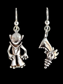 Alien Martian and Ray Gun Earrings - Silver