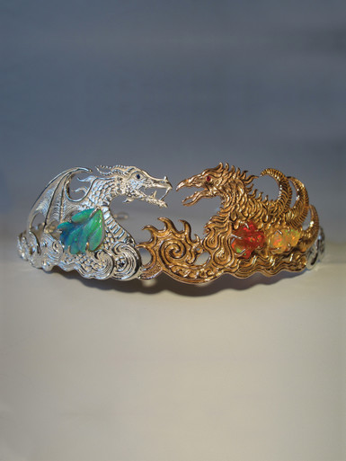 Phoenix And Dragon Tiara With Australian And Mexican Opals