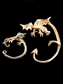 Bronze Guardian Dragon Ear Wrap for the left ear and Bronze Dragon Ear Whisperer for the right ear.
