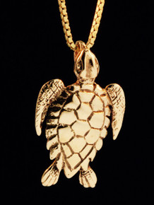 Gold Sea Turtle Charm - 14k Gold