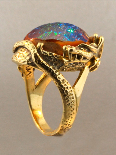 Star Fire Lagoon Dragon Ring Mexican Matrix Fire Opal