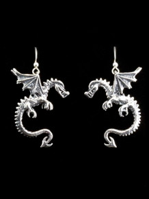 Spike Dragon Earrings - Silver