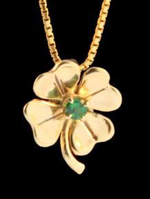 Four Leaf Clover Charm -14k Gold w/Gemstone