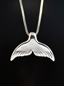 Whale Tail Charm Pendant - Silver