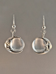 Moon Orb Earrings - Silver