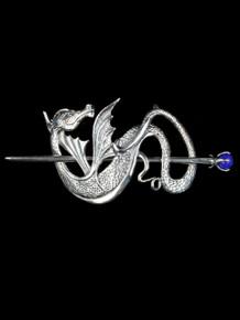 Wyvern Dragon Barrette - Sterling Silver w/ Blue Onyx