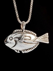 Blue Tang Fish Charm Pendant - Silver