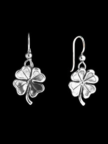 Four Leaf Clover Charm Earrings - Silver