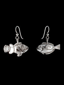 Blue Tang and Clown Fish Earrings - Silver