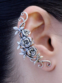 Rose Tendril Ear Cuff - Silver