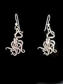 Small Octopus Earrings - Silver