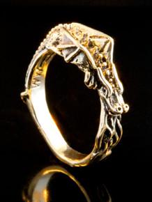 14k Gold Flame Dragon Ring