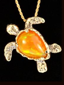 Mexican Fire Opal Treasure Back Sea Turtle - 18K Gold