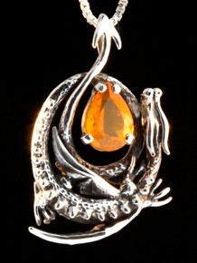 Curled Dragon Pendant with Fire Opal