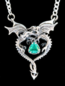 Dragon Heart Pendant with Emerald - Silver