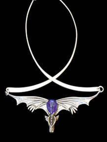 Gothic Dragon Neckpiece with Tanzanite and Neck-ring - Silver
