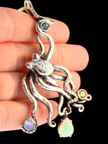 Octopus Pendant with gemstones.