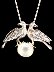 Vintage Double Raven Pendant with Moonstone - Silver