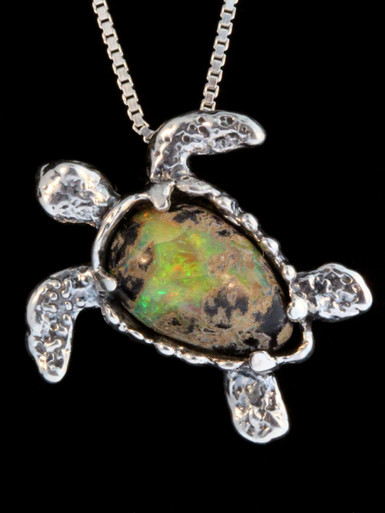 Treasure Back Sea Turtle -Australian Boulder Opal with Tsavorite Eyes