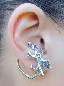 Dragon Whisperer Ear Cuff Hoop Silver
