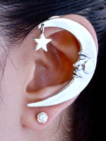 Crescent Moon Ear Wrap - Silver
