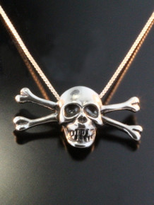 Pirate - Skull and Crossbone Pendant - Silver