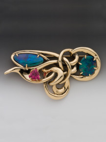 Nouveau Abstract Pendant - Boulder Opal and Pink Tourmaline - 14K Gold