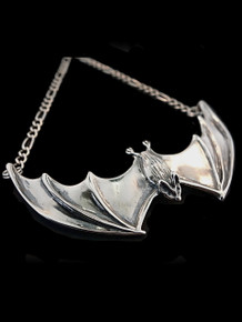 Large Spread Winged Bat Pendant - Silver