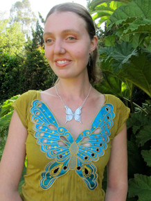 Alisha, modeling the Large Butterfly Pendant with Dragon Fly Earrings