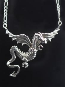 Dragon - Ancient Gwendolyn Dragon Neckpiece - Silver