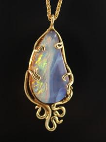 Wave Drop Opal Pendant - 18K Gold