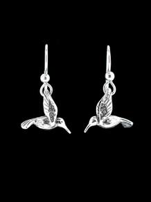 Small Hummingbird Earrings - Silver