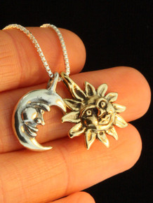 Gold Eclipse Pendant with Gold Sun and Sterling Silver Moon - 14k Gold