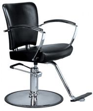 Styling Chair Round Chrome Base w/T-Footrest