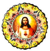 Turkish Ceramics-Ikona Series-Jesus-yellow plate-diameter: 7inch (18cm)