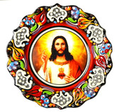 Turkish Ceramics-Ikona Series-Jesus-red plate- diameter: 7inch (18cm)