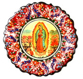 Turkish Ceramics-Ikona Series-Guadalupe-red plate-diameter: 7inch (18cm)