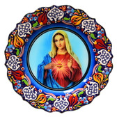 Turkish Ceramics-Ikona Series-Mary Sacred Heart- plate diameter:10inch (25cm)