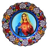 Turkish Ceramics-Ikona Series-Mary Sacred Heart- plate diameter:10inch (25cm)