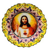 Turkish Ceramics-Ikona Series-Jesus Sacred Heart-yellow- plate diameter:10inch (25cm)