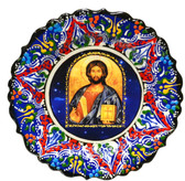 Turkish Ceramics-Ikona Series-Jesus-navy plate- diameter: 7inch (18cm)