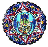 Turkish Ceramics-Hamsa-navy plate- diameter:7 inch (18cm)