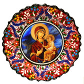 Turkish Ceramics-Ikona Series-Virgin Mary & Baby Jesus-Byzantine-diameter: 7inch (18cm)